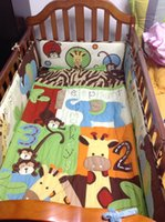 baby crib bedding sets monkey - 8Pcs Baby bedding set cotton Crib bedding set D elephants monkeys Cot bedding Quilt Bumper Bed Skirt Urine Bag Mattress Cover
