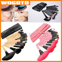 Wholesale Professional Makeup Brushes Set Charming Pink Black Cosmetic Eyeshadow Brushes with leather pouch DHL