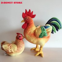 animal fur farm - Simulation animal CM CM colourful cock hen toy polyethylene furs house Decoration prop emulation doll gift