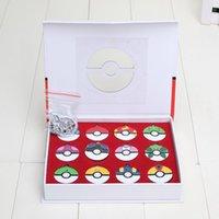 Wholesale 12Pcs set PokeBall Anime pikachu Action Figures Toys PokeBall keychain pendant Juguetes with exquisite gift box