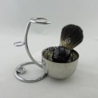 shaving brush - Black badger hair shaving brush wood handle with metal stand Double Stainless shiny shaving bowl shaving set BWSTD204BLBL