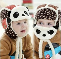 aviator clothes - Lovely Panda Hats Baby Caps Kids Aviator Hat Bomber Winter Cap Children Masks Warm All For Children Clothing And Accessories