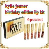 Wholesale Kylie Jenner Limited gold Birthday Edition Kylie lipsticks Matte liquid Lipstick set mini gold kylie lipgloss kit DHL