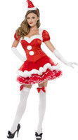 Wholesale Adults Ladies Sexy Santa Christmas party Xmas Fancy Dress Mascot Costumes BS102