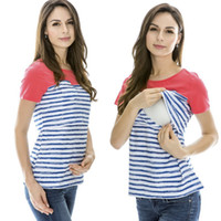 Wholesale Striped Maternity clothes Short Sleeve Maternity T shirt Maternity tops nursing clothes nursing top Breastfeeding Tops for Pregnant Women
