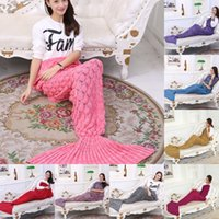 Wholesale One piece Mermaid Tail Blanket Knitted blanket Adult Little Mermaid Blanket Knit Cashmere TV Sofa Blanket MC0365