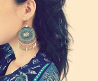 Wholesale exaggerated blue bohemia round earrings