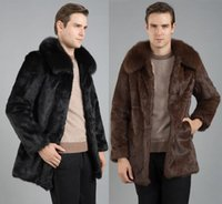 Wholesale Fall Black brown warm casual short faux Mink rabbit fur coat mens leather jacket men coats Villus winter loose thermal outerwear