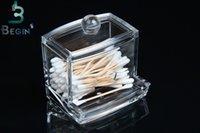 acrylic office organizer - Fashion Clear Acrylic Cotton Swab Organizer Box Cosmetic Holder Q tip Makeup Storage Case Spools Organizer Hotel Supplies