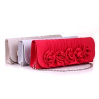Wholesale 2016 Women Satin bags Bridesmaid Wedding clutch bags Handbag Rose Flower Ruched Clutch Purse Banquet Bag Party Evening Bags With Chain A