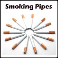 aluminum tube shapes - 100 Cigarette Shape Sharpstone Smoking Pipes Mini Cheap Portable Designer Tobacco Pipes Snuff tube Aluminum Smoking Pipes