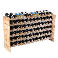 Revisiones Bastidores de almacenamiento de vino-Nuevo estante para botellas de vino de madera de 72 botellas