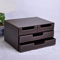 Wholesale 3 layer drawer wood structure leather desk filing cabinet storage box office organizer document container brown B