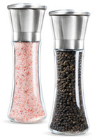 Wholesale salt and pepper grinder set tall design glass bottle stainless steel cover ceramic grinder