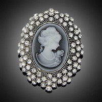 antique jewelry pins - Fashion Antique Silver Plated Vintage Brooch Pins Female Brand Jewelry Queen Cameo Brooches Rhinestone For Women Christmas Gift DHH093