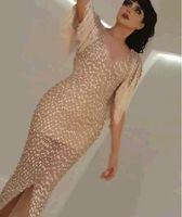 beaded tassles - Evening dresses Beads Tassles Mermaid Yousef aljasmi Sweetheart Champagine Crystals Myriam fares Zuhair murad Kim kardashian