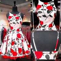 beautiful roses pictures - 2016 Red Floral Print Roses Homecoming Dresses with Crew Neck and Open Back Real Pictures Beautiful Party Gowns