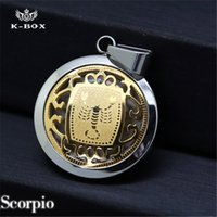 astrology horoscope - Stainless Steel Gold and Silver Scorpio Zodiac Sign Pendant Astrology Horoscope Coin Constellation Sign Charm wz quot Cuban Chain