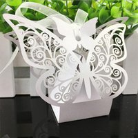 Wholesale 500pcs Butterfly Laser Cut Hollow Carriage Baby Shower Favors Boxes Gifts Candy Boxes Favor Holders With Ribbon Wedding Party Supplies