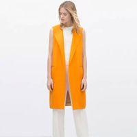 Wholesale New Hot Winter Autumn Fashion Long Women Vests Plus Size Sleeveless Vest Femininas Cotton Suit jacket Women Waistcoat