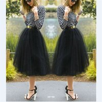 Wholesale Falda larga Summer Style High Waist Black White Tulle TUTU Pleated Skirts Long Faldas Largas saias longas
