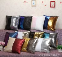 Wholesale Double Color Sequin Pillow Case cover Glamour Square Pillow Case Cushion Cover Home Sofa Car Decor Mermaid Bright Pillow Covers