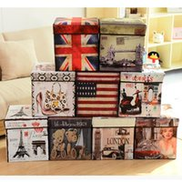 Wholesale England Style Retro Storage Boxes L High capacity Multifunction Folding square Home Storage Styles OPP Packaging