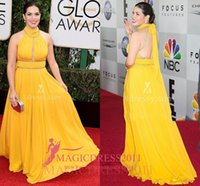 america pick - AMERICA FERRERA Halter Yellow Chiffon Red Carpet Evening Dresses GOLDEN GLOBES A Line Jewel Pleated Beaded Formal Prom Gowns