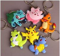 Wholesale 6 Deisgn Poke Keychains Pikachu Cartoon Doll Pendant Key Ring with Retail Package Cheap Promotion Gift for Adult Children