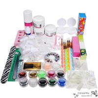 Wholesale 1 Sets Professional Nail Art Set Kit Acrylic Powder Liquid Glitter Glue Toes separators Brush Tweezer Primer Tips Decorations