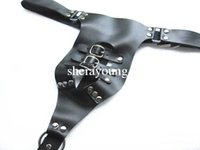 Wholesale Sex Toy Underwear For Men - Black Leather Male Chastity Belt Devices Panty Fetish Underwear Pants Erotic Adult Sex Products Toys for Men XLY552