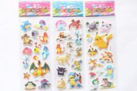 Wholesale Poke Pokémon go Pikachu D Stickers new children cartoon Pikachu Charmander Jeni turtle D PVC Stickers x7 cm B