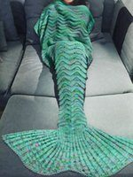 Wholesale Mermaid Tail Living Room Blanket Handcrafted Crochet Knitting Soft Cozy Sleeping Bag Rug for Adult Teens