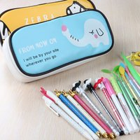 Wholesale PU school pencil box Large capacity pencil case Cartoon stationery