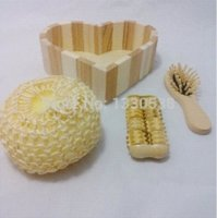 Wholesale New fashion bathroom accessories wooden bath set Pieces cleansers hair brush bath suit M