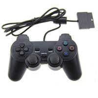al por mayor dispositivo de juego doble de vibración-PS2 Nuevos Juegos Wired Shock Juego Vibration Controller Playstation PS2 Black Wired Controller Double Vibration Joystick De Estoretech
