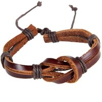 Wholesale New Retro Leather Strap Hand woven Creative Shaped Buckle Knot Leather Bracelet Color Black BL0009