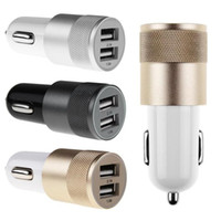 Wholesale Newest Black Metal Alloy Shell Universal A Dual USB Port Car Charger Auto Charging adapter For Apple iphone5 Samsung Blackberry