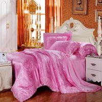 Wholesale True Love Rose Cotton Tencel Modal Jacquard four piece cotton satin wedding lace sheet