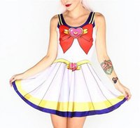 adult sailor moon costumes - 2Qickitout Dress Summer Dresses Women Clothing Sailor Moon Style Cosplay Costume DRESS Pleated Dresses Sundress Drop Ship