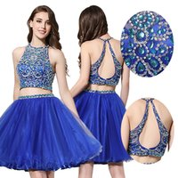 Bracelets backless mini dresses - 2016 Two Pieces Blue Graduation Homecoming Dresses Real Photos A Line Sheer Neck Beaded Short Mini Prom Gowns Party Cocktail Dress