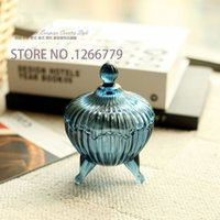 ash soap - 2015 NEW High quality Retro Retro style blue ash tray ice cream bowl soap box candy box glass three feet with a round bowl