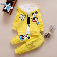 Wholesale 2017 New Chidren Kids Boys Clothing Set Autumn Winter Piece Sets Hooded Coat Suits Fall Cotton Baby Boys Clothes Mickey T657