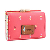 beautiful note cards - Damara Female Faux Leather Card Holder Mini Clutch Wallets Small Coin Purses Tri fold Beautiful Cute Girl Students Carteira Feminina