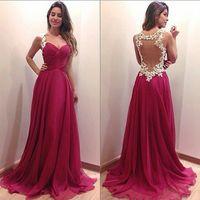 Wholesale Elegant long chiffon dress Prom gown Evening dress Sexy deep V neck dress Lady s formal gowns Vestido de festa New arrival