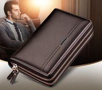 Wholesale Hot Sell and retail new PU Leather mens and womens Double zipper wallets Clutch card Holders color for pick