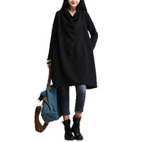 bell scarves - 2016 Autumn Stylish Women Casual Cotton Loose Scarf Collar Dress Solid Temperament Elegant Long Sleeve Plus Size Dress Vestidos