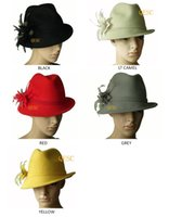 Plain Dyed best choice protection - Wool felt hat winter hat with feather flower one side up brim best choice for winter black yellow wine grey red