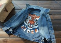 baby jean jackets - Ins New Fashion Autumn Boy Girl Tiger Printing Denim Jacket Baby Toddler Slightly Faded Blue Jean Jacket Children Kids Outwear Clothing