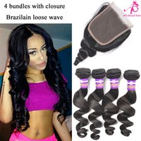 Wholesale 8A Brazilian loose wave bundles with lace closure raw Brazilian hair weave human hair bundles closure Peruvian Indian loose wave closure